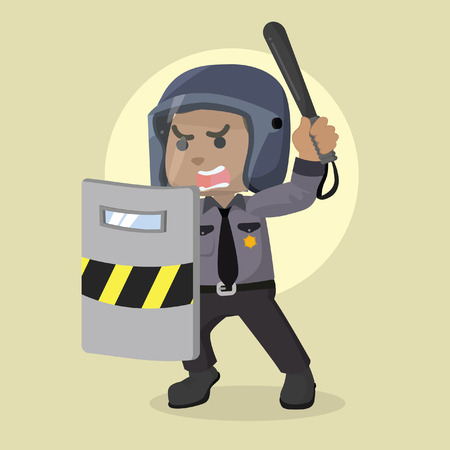 African police officer holding riot shield– stock illustration