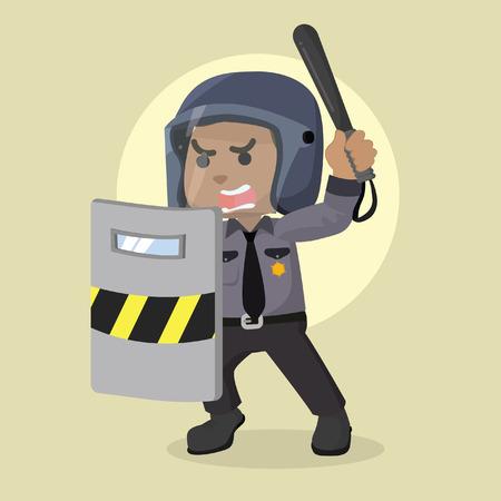 African police officer holding riot shield– stock illustration Illustration