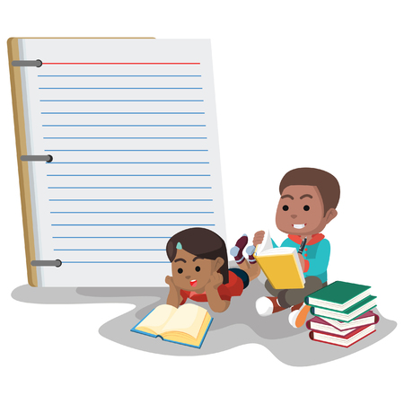 Boy and girl with big notebook Illustration
