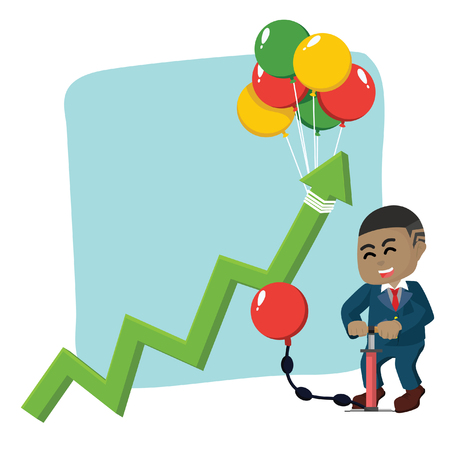 African businessman rising graphic by pumping balloon stock illustration.