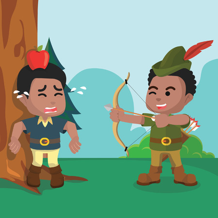 African robin hood practice– stock illustration