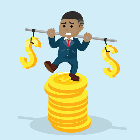 African businessman stabilizing on stack of coin– stock illustration