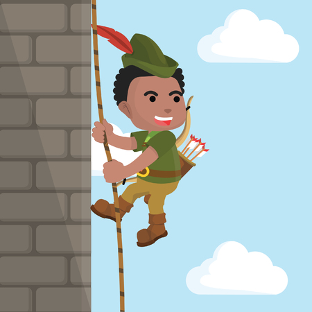 African robin hood climbing castle wall– stock illustration