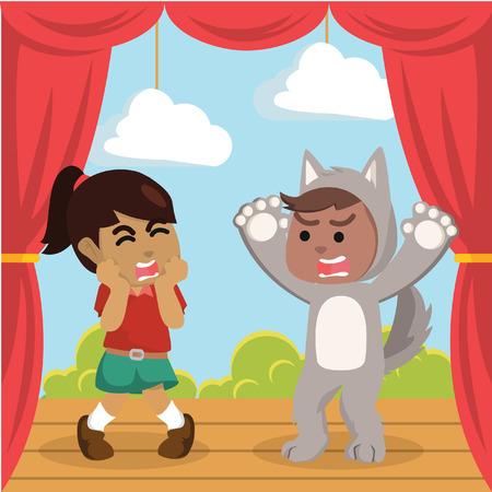 African werewolf costume on stage play stock illustration. Illustration