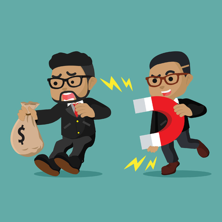 African businessman attracted other businessman stock illustration. Illustration