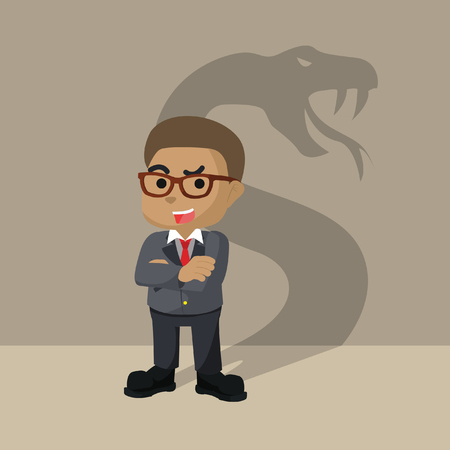 African businessman with shadow snake– stock illustration