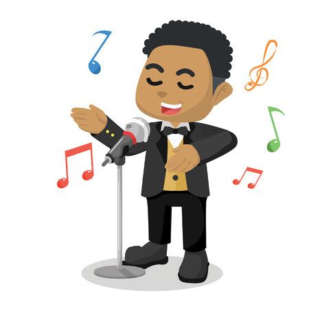 Illustrazione africana delle azione dell'illustrazione del fumetto del cantante del bambino. Vettoriali