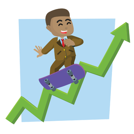 African businessman climb skateboard with graphics stock illustration.