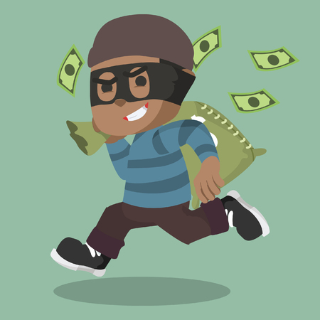 African thief running carrying bag of money stock illustration.