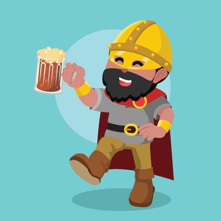 African Viking leader drinking beer