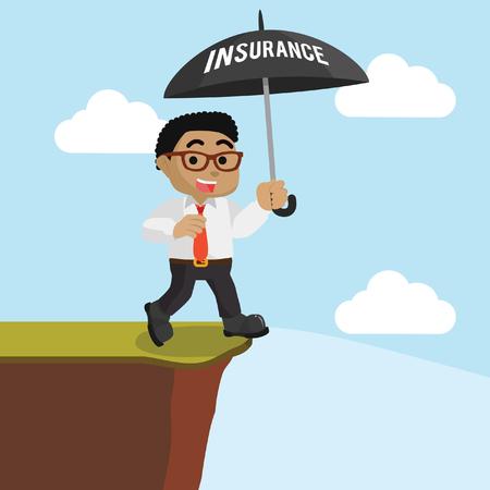 African businessman walking on the edge with umbrella stock illustration. Illustration