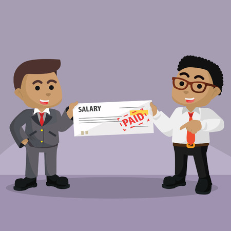 African businessman getting paid from his boss stock illustration.