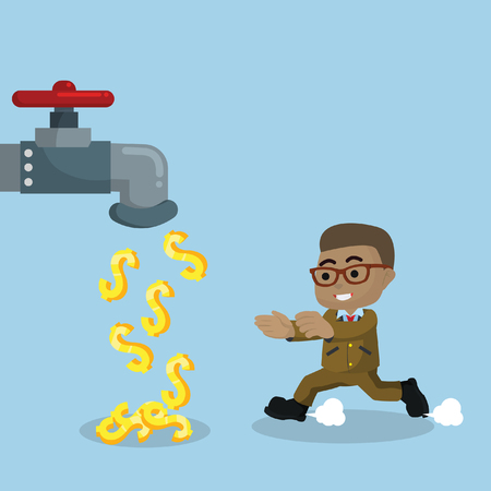 African businessman with money faucet stock illustration.