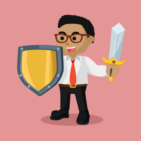African businessman with sword and shield– stock illustration Illustration