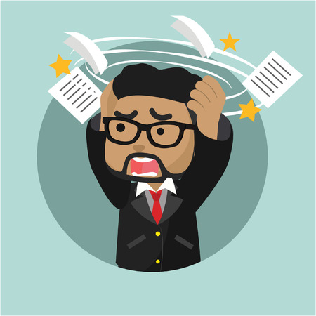 African businessman stressed by his work stock illustration Illustration