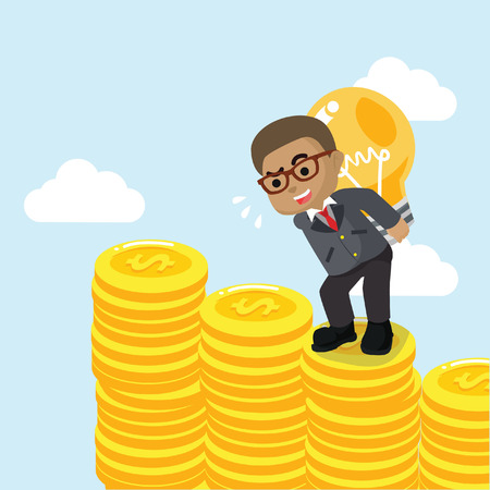 African businessman carrying bulb on coin– stock illustration