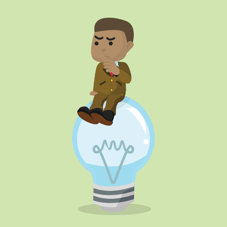 African businessman confused on dead bulb– stock illustration