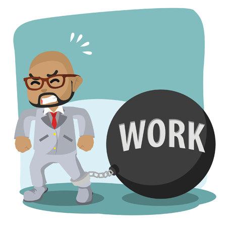 African businessman shackled by work iron ball– stock illustration. Ilustração