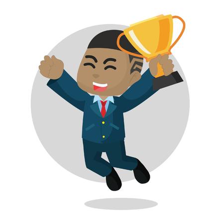 African businessman jump happy– stock illustration Illustration