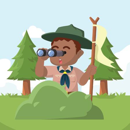 African boy scout behind bush with binocular– stock illustration Vettoriali