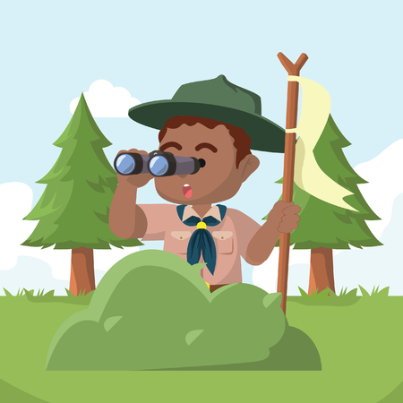 African boy scout behind bush with binocular– stock illustration Illustration