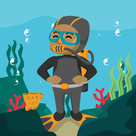 African using diving suit underwater– stock illustration