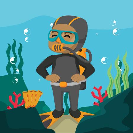 Africain utilisant une combinaison de plongée sous-marine Banque d'images - 92785786