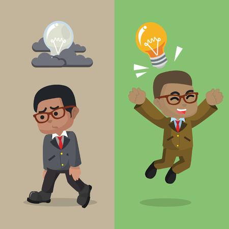 African businessman brilliant idea and not– stock illustration Ilustração