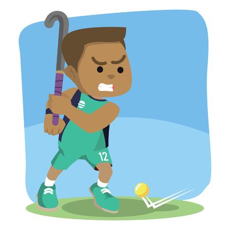 Field hockey player ready to shoot illustration. Illustration