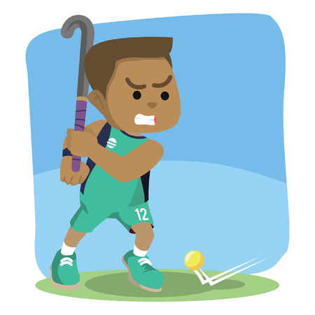 Field hockey player ready to shoot illustration. Vectores