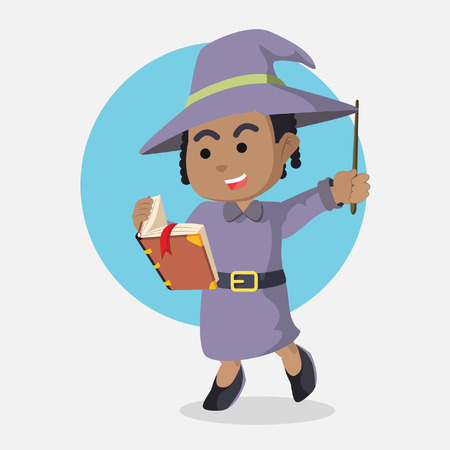 African witch holding book and wand– stock illustration