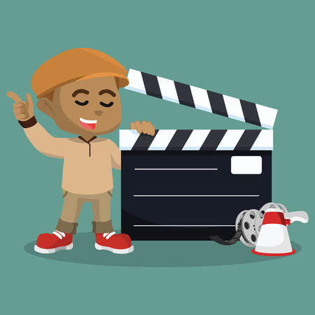 African boy movie director with giant clapboard– stock illustration