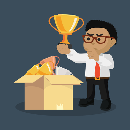 African businessman picking a good trophy– stock illustration Illustration