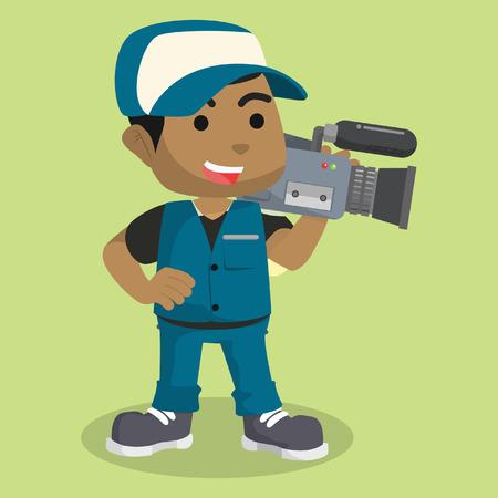 """Afrikaanse jongen verslaggever cameramanâ ? """"stock illustratie"""