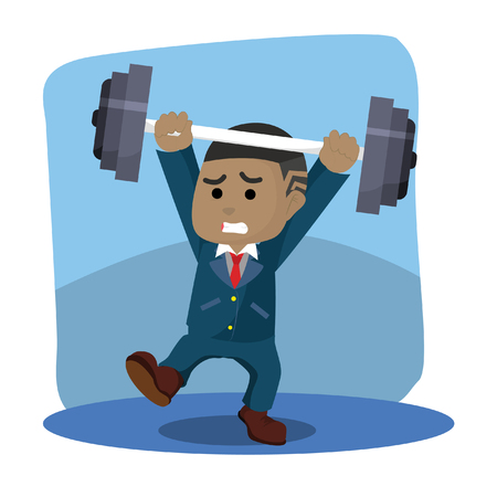 Businessman with unbalanced barbell illustration.