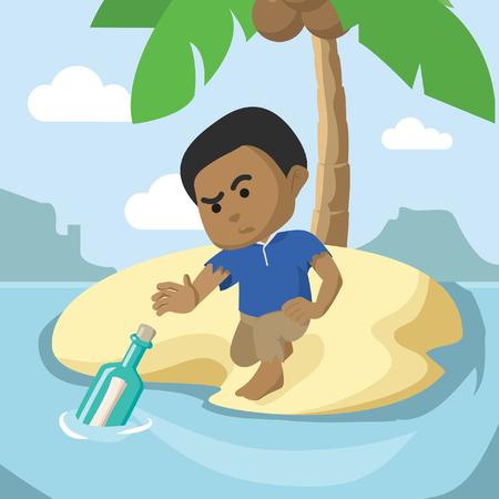 African businessman running on cliff– stock illustration