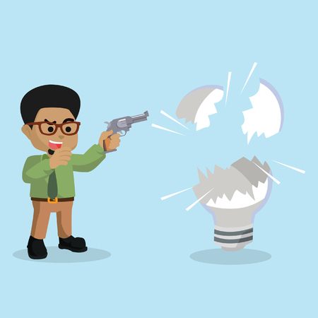 African businessman shooting bulb– stock illustration