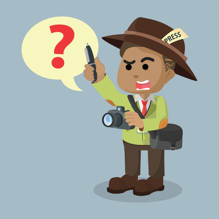 Journalist asking the question– stock illustration Ilustração