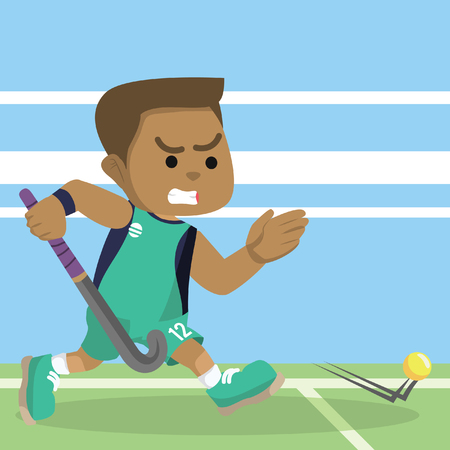 African field hockey player running catching ball– stock illustration Vectores