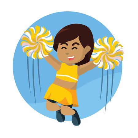 African cheerleader jumping cheers– stock illustration