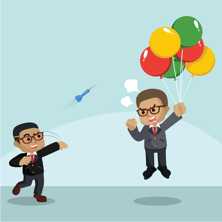 African businessman throwing darts to flying businessman– stock illustration
