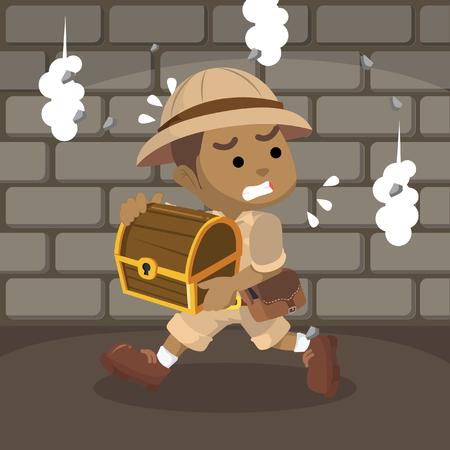 African boy explorer run after taking the treasure– stock illustration