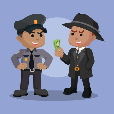 African mafia bribing african police– stock illustration Vectores