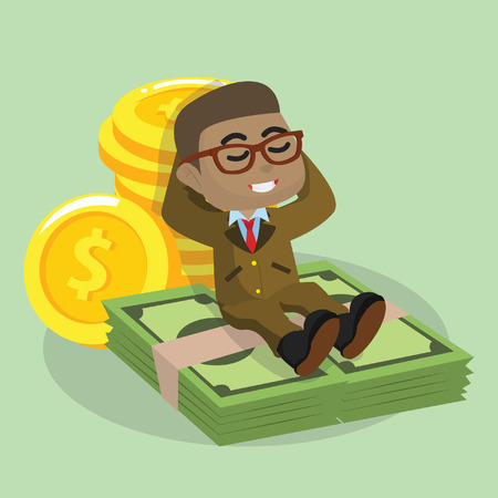 African businessman laying down on money vector illustration Stock fotó - 92720895