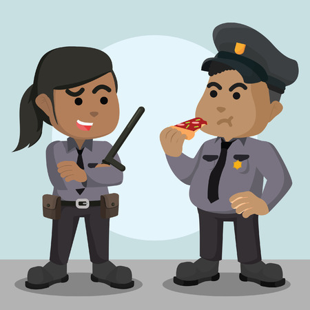 Fat police officer with woman police officer vector illustration