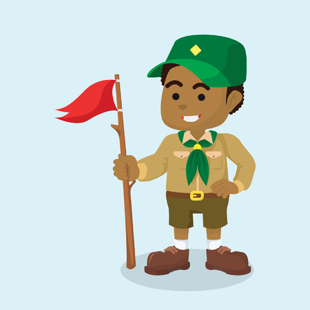 African boy scout with flag vector illustration