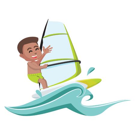 African boy wind surfer– stock illustration