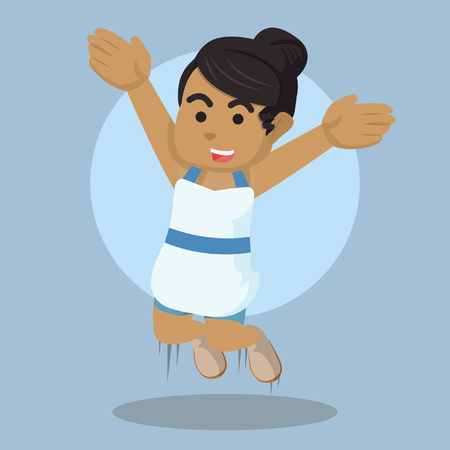 African party girl jump– stock illustration