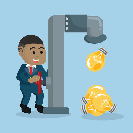 African businessman releasing bulbs from faucet vector illustration