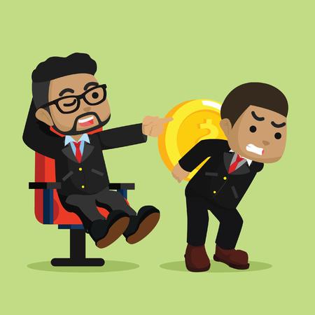 Luie en hard werkende werknemer concept vectorillustratie Stock Illustratie